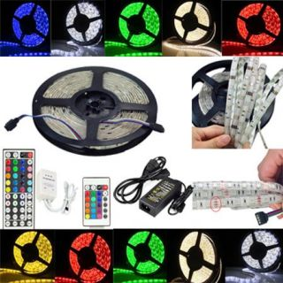 5M 5050 RGB Waterproof SMD LED Strip Light 150 300 LEDs Remote Power Supply