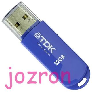 TDK Trans It Mini 32GB 32G USB Flash Pen Drive Thumb Disk Memory Glossy Sea Bue