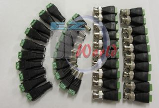 10 Pairs CAT5 to BNC Coaxial Video Balun and Male Female DC Power Connectors