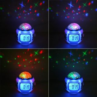 Color Change LED Star Night Light Magic Projection Projector Alarm Table Clock