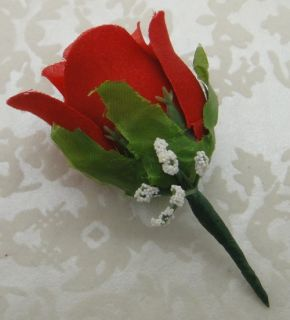 2 PC Red White Roses Corsage Boutonniere Artificial Silk Wedding Flowers Prom
