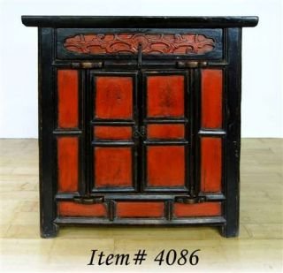 Antique Chinese Shanxi Red Black Cabinet Entry Side Stand Chest Table Asian 34""
