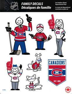 NHL Montreal Canadiens Stick People Family Decals Full Color Vinyl Decals