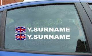 Rally Race SURNAME Window Names Tag Union Jack England Flag Stickers Decals X4