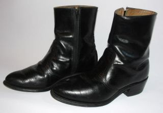 Vintage Mens 7 5 D Cowboy Boots Black Leather Short Zipper Western Shoes