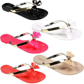 Womens Ladies Jellys Jellies Metallic Diamonte Bow Flip Flop Summer Sandals Size