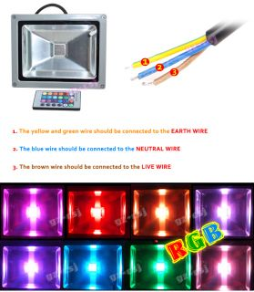 Remote Controller 30 Watt High Intensity RGB Color Changing Flood Security Light