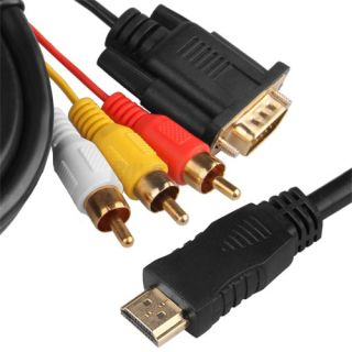 HDMI HDTV to VGA 3 RCA RGB Adapter Cable 1080p 5ft 1 5M