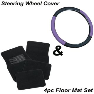 "5pc Set 15"" inch Size Purple Black Steering Wheel Cover Auto Carpet Floor Mats"