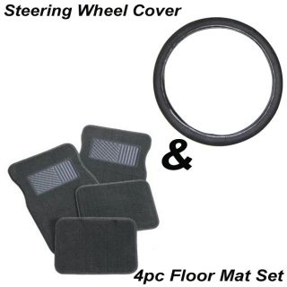 "5pc Set 15"" inch Solid All Black Steering Wheel Cover Gray Carpet Floor Mat"