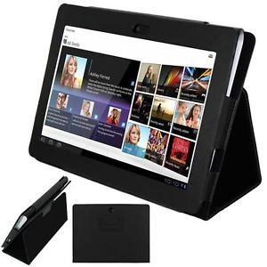 Black Flip Premium Leather Carrying Case Cover for Sony Tablet S1