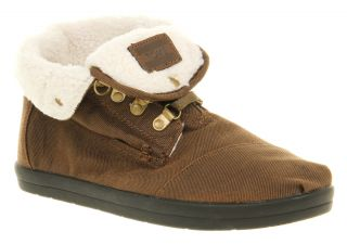 Mens Toms Botas Fur Lined Boot Brown Fleece Casual Shoes Size 10
