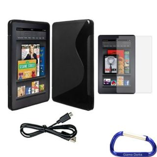 TPU Rubber Skin Case Black Screen Protector and USB Cable  Kindle Fire