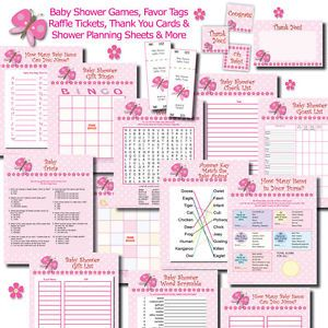 Butterfly Girl Baby Shower Games Pack Favor Tags Raffle Thank You Cards U Print