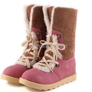 US7 5 Pink Women Lace Up Flat Combat Mid Calf Shoes Warm Fur Lining Ankle Boots