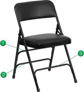 Heavy Duty Folding Chair Commercial Steel Triple Brace Metal Black Padded Seat