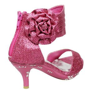 Girls' Ankle Wrap High Heel Glitter Dress Sandals w Flower Fuchsia Kids Shoes