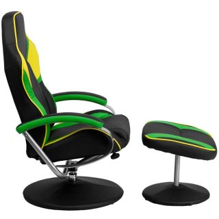 Racing Bucket Seat Recliner Gaming Game Room Lounge Chair Cool Green Black Cool