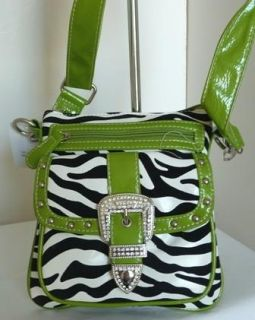Western Green Zebra Cross Body Belt Sling Purse Bag
