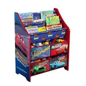 Disney Cars Book Shelf Display Organizer Bins Storage Unit Toy Toys Box Kid