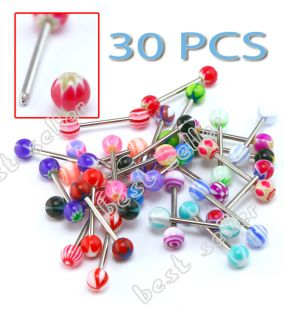 30 Surgical Steel Tongue Ring Barbell Bar Tounge Body Jewelry Piercing Mix Color