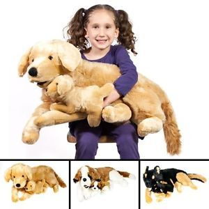 "Large Mommy Dog with Puppy Plush 26"" Stuffed Animal Kids Soft Toy Mother Baby"
