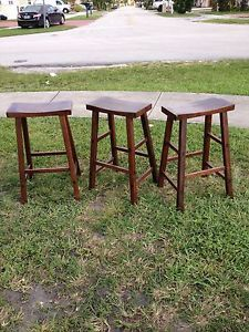Winsome Solid Wood Bar Stool Dark Brown Seat Wide Chair Pub Set of 3