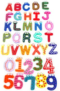 10COLORFUL Funky Numbers or 26 Wooden Alphabet Fridge Magnets Toy Baby Kids Gift