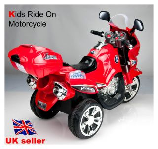 Kids Ride on 3 Wheels Motorcycle Bike 6V Electric Battery Powered Toy 3188 Red