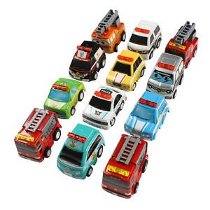 12 Pcs Colorful Plastic Police Cars 119 Fire Truck Toy for Children