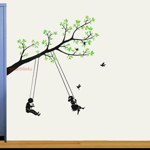 Wall Sticker Kids Swing on Green Tree Birds Baby Room Decal DIY Art Mural Decor