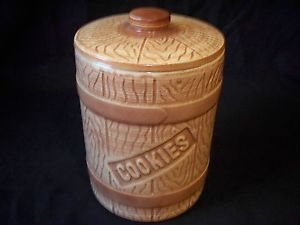 Texas Pottery Athtex USA Cookie Jar Ovenware Western Wood Barrel Says Cookies