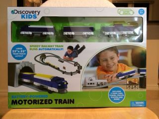 Discovery Kids Battery Powered Motorized Toy Train Set Car Tunnel Railway Speedy