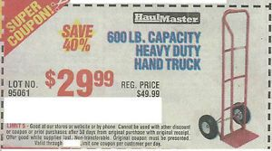 Harbor Freight Coupon 600 lb Capacity Heavy Duty Hand Truck Plus Lot of Coupon