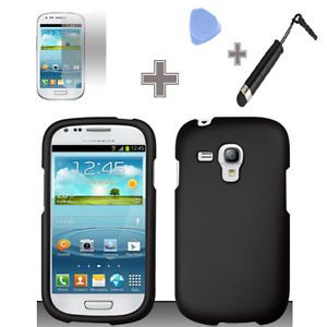 Samsung Galaxy S3 Mini ATT Rubberized Solid Black Hard Case Cover Screen