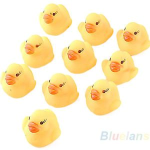10pcs Baby Kids Children Bathing Toy Rubber Gel Squeaky Duck Ducky Yellow BF4U