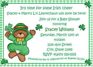 St Patrick's Day St Patty's Day Shamrock Birthday Party Baby Shower Invitation