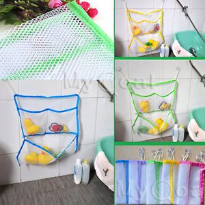 Baby Kids Bath Toys Tidy Storage Suction Bag Bathroom Stuff Organiser Net Mesh