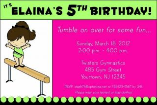 Gymnastics Birthday Party Personalized Custom Invitation Multiple Designs