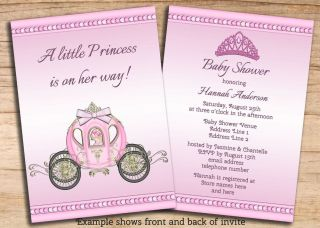 Girls Pink Princess Baby Shower Invites Double Sided Cheap Printable Invitations