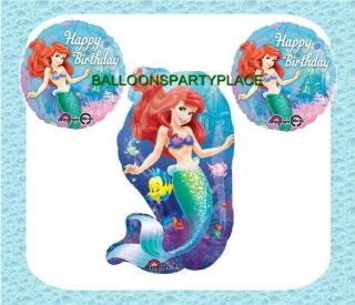 3 Balloons Disney Ariel Little Mermaid Happy Birthday Party Supplies Free SHIP