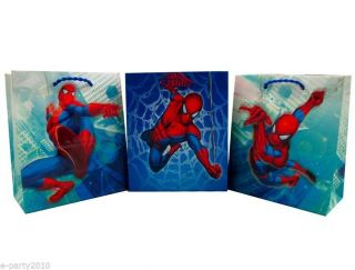 3 Spider Man Small Gift Bags Super Hero Birthday Party Supplies Wrapping
