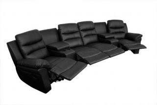 Seatcraft Genesis Home Theater Seating 4 Recliners 2 Wedges Black Manual Chair