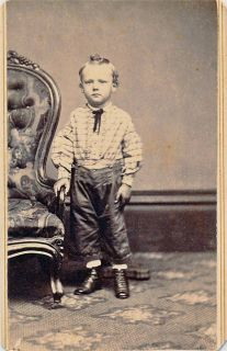 Vintage Civil War Era CDV of A Standing Young Boy in A Western Attire