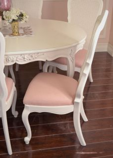 Shabby Cottage Chic Set 6 Dining Chair White Cane Back Pink Linen French Style