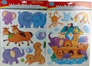 Set of 2 Children's Noah's Ark Cartoon Animal Wall Stickers