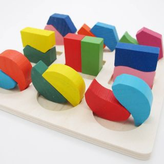 Wooden Geometry Block Puzzle Montessori Early Learning Kid Baby Educational Toy
