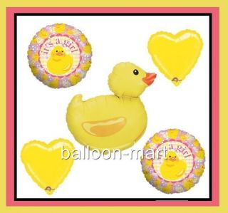 Rubber Duck Balloons Girl Baby Shower Party Supplies Decorations Pink Ducky Set