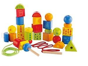 Colorful Wooden Blocks Lacing String Beads DIY Toy for Kids Assorted Shapes