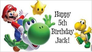 Custom Vinyl Super Mario Bros Brothers World Birthday Party Banner Decorations